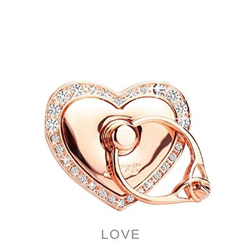 Bague de maintien pour smartphone, support en forme de cœur, bague en forme de diamant avec support de fixation voiture, or rose