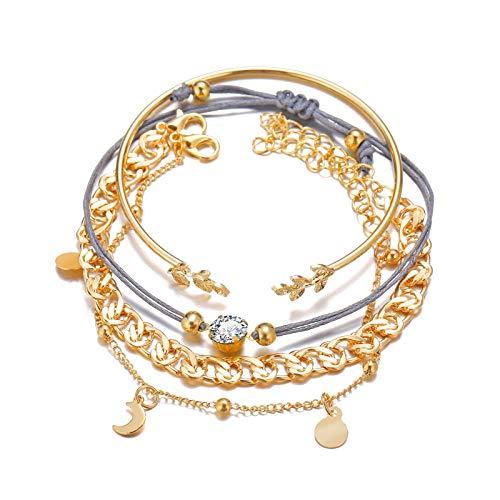 Smilyokach 4Pcs/Sets Rhinestone Bracelet Simple Alloy Chain Bracelet Adjustable Chain for Women