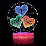 3D Illusion Lamp Night Light,I Love You Dynamic Changing LED Optical Illusion Lamp with Touch,LED 3D Illusion Lamp for Valentine,Mothers Day,Birthday,Home Bedroom Nurery Decor