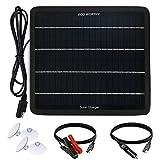 ECO-WORTHY 12V 5W Panel solar cargador de goteo Mantenedor de energía kit de respaldo portátil con adaptador de clip de cocodrilo para coche, RV, barco, automóvil, motocicleta