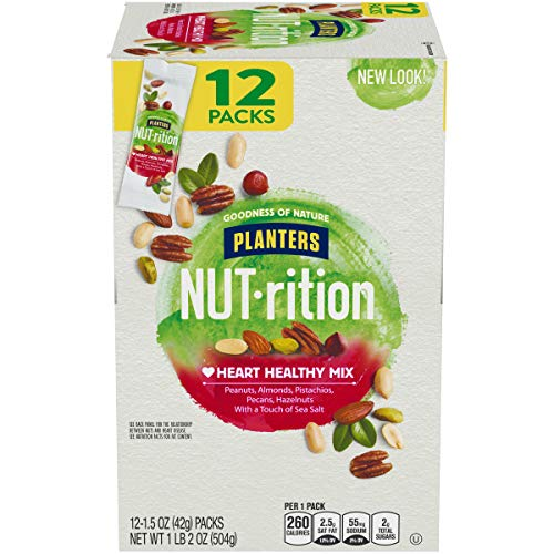 PLANTERS NUT-rition Heart Healthy Mix, 1.5 oz Bags (Pack of 12) | On-the-Go Snack, Work Snack, School Snack and Active Lifestyle Snack | Great Camping Snacks | Satisfying Nut Mix | Kosher