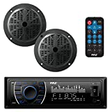 Pyle Marine Headunit Receiver Speaker Kit - In-Dash LCD Digital Stereo Built-in Bluetooth & Microphone w/ AM FM Radio System 5.25 Waterproof Speakers (2) MP3/SD Readers & Remote Control - PLMRKT46BK