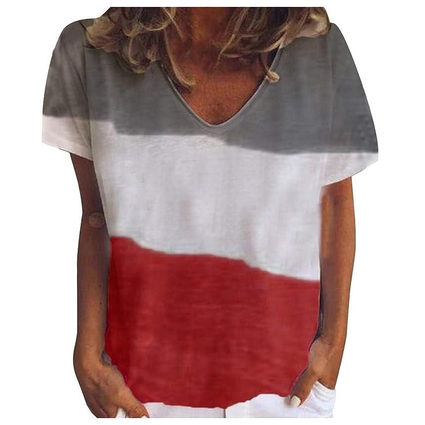 Toimothcn Women's Casual Short Sleeve V-Neck Tie Dye T-Shirt Tunic Tops Loose Blouse