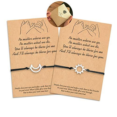 KINGSIN Pinky Promise Bracelet Sun Moon Long Distance Matching Bracelets for Couples Best Friend Boyfriend and Girlfriend
