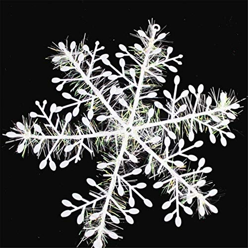 MOTOULAX Copos de Nieve Decorativos Navideños, 30 PCS PVC Copos de Nieve Artificiales, Adornos Navideños para Decoraciones de árboles de Navidad, Decoraciones para el Hogar 8CM