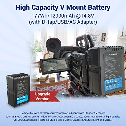 MAXOAK 177Wh (12000mAh/14.8V) V Mount Battery and Charger V lock Battery for Video Camera Camcorder with D-tap(not for RED series)