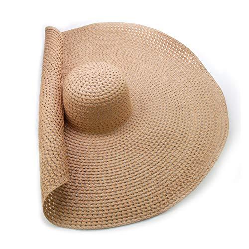 Hecho a Mano Hecho a Mano Brim SOP sobre TRIPLEBLE FRÍA LADRES Sombrero Sombrero Playa GORRIOS PLATABLE Sombrero para el Sol (Color : Camel)
