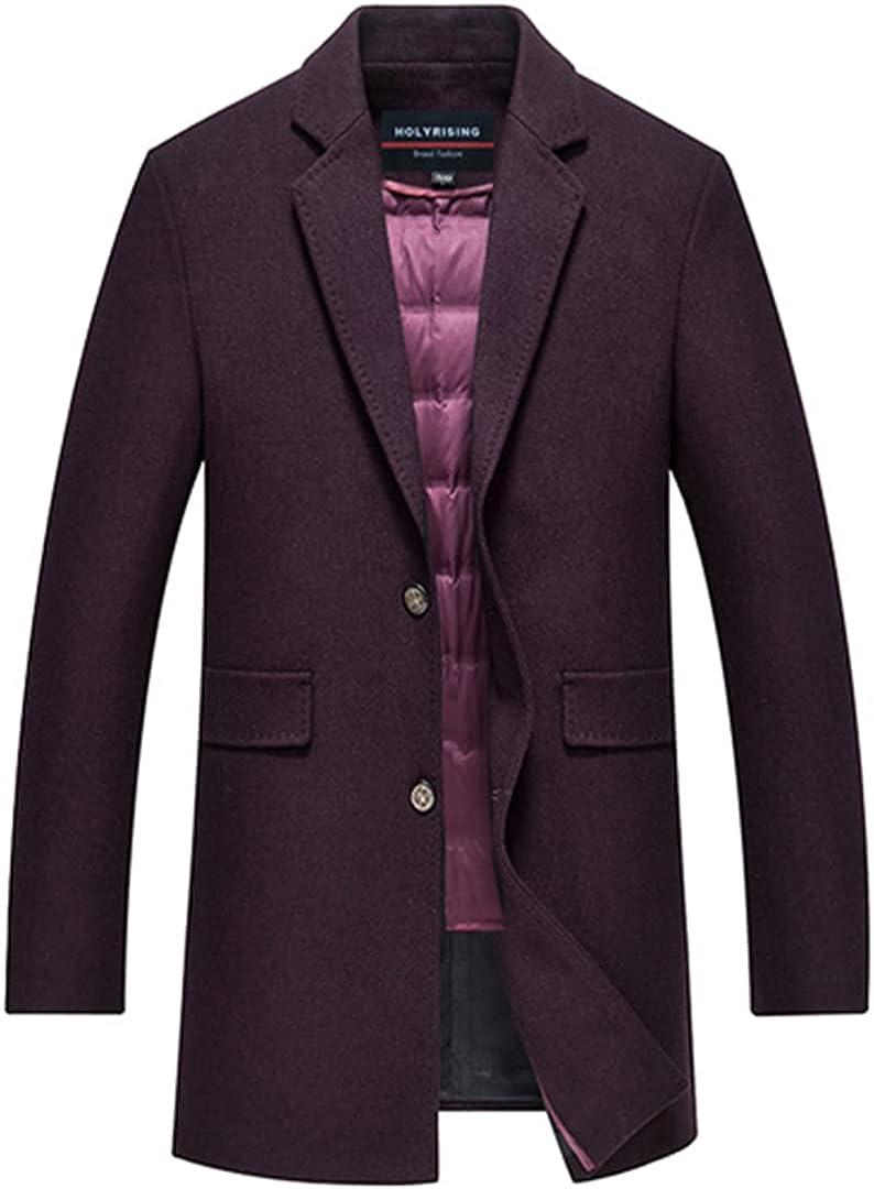 Men Wool Coats With Down Vest Adjustable Waistcoat Long Warm Outerwear Thicken Topcoat Male Windproof Jackets