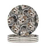 Wraill Sottobicchieri rotondi in ceramica con teschio, set da 4/6 pezzi, sottobicchieri decorativi con fondo in sughero, per bicchieri, tazza, bianco, 6 pezzi