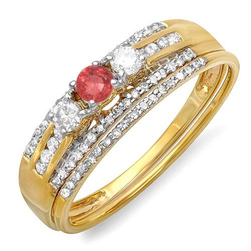 DazzlingRock Collection Juego de Compromiso de Anillo de Piedra Nupcial de Piedra de Oro Amarillo de 18 Quilates con rubíes rubios y Diamantes 5.5
