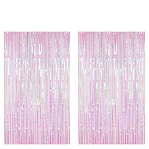 ShiDianYi Metallic Foil Fringe-Backdrops-Transparent White-6FTX8FT Tinsel Party/Window/Door Decorative Fringe Curtains(Pack of 2) (Transparent White)