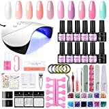 UV Gellack Set 36W UV+ LED Nagellampe Starterset,10Stk Gel Polish für UV Nageldesign Gelnägel Nagelset, UV Nagellack Top & Base Coat Maniküre Werkzeug Kit