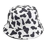 Mashiaoyi Unisex Print Double-Side-Wear Reversible Bucket Hat Cow Pattern