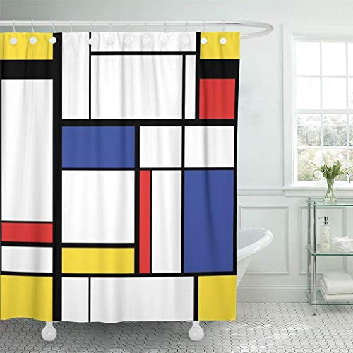 N/X Duschvorhang Blaue Muster-abstrakte Moderne Malerei in Mondrian Buntem Bauhaus wasserdichtem Polyester-Stoff-Duschvorhang