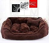 WENYAO Kennel Four Seasons Universal Removible Lavable Poodle Nest Cama para Perros pequeña y Mediana Alfombrilla para Gatos Suministros para Mascotas (Color: café Profundo) Huesos (Color: S)