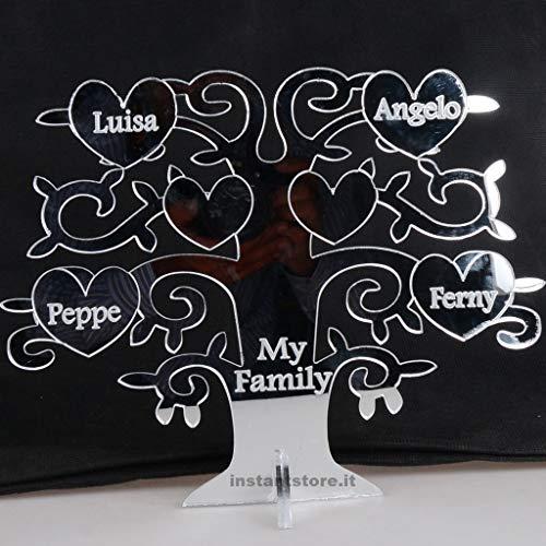 Albero della vita portafortuna personalizzato con nomi frasi in plexiglass specchiato