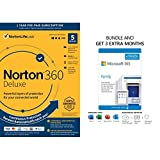 Norton 360 Deluxe 2021 | Antivirus software for 5 Devices [Key Card] and Microsoft 365 Family | 3 Months Free, Plus 12-Month Subscription [PC/Mac Download] (Renew to 12-Month Subscriptions)
