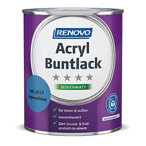 Acryl-Buntlack 2-in-1 750 ml RAL 5015 Himmelblau seidenmatt Renovo