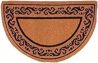 Coco Mats N More Half-Round Coir Entrance Mat / Doormat - Black Rolling Scrol...