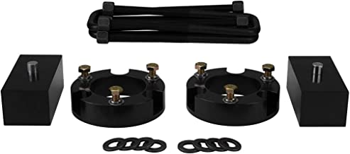 Silver Fits 2005-2020 Toyota Tacoma 2 Inch Front Strut Spacers and 1 Inch Rear Lift Blocks with Extended U-Bolts Lift Kit Liftcraft