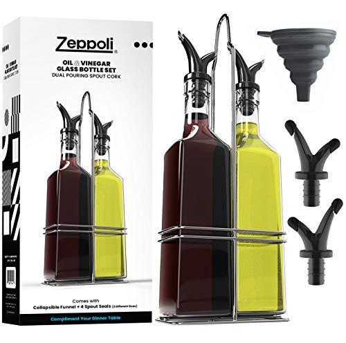 Zeppoli Oil and Vinegar Bottle Dispenser Set with Stainless Steel Rack and Removable Cork 2Pack  Dual Spout Pouring Funnel 4 Spout Seals 17 oz Olive Oil Bottle and Vinegar Glass Set