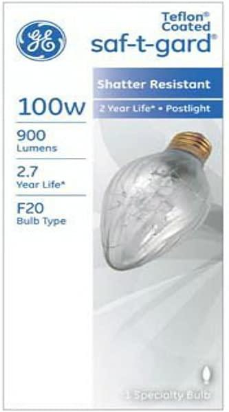 G E Lighting 44540 Saf T Gard Outdoor Post Light Bulb 100Watt 100F20 TF STG