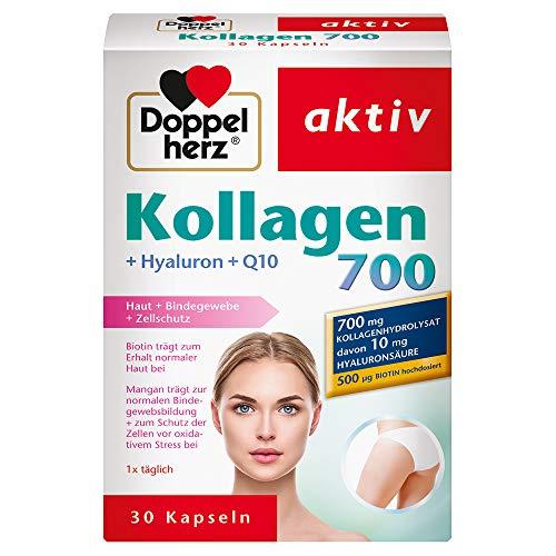 Doppelherz Kollagen 700 mit Hyaluron + Q10 / Nahrungsergänzungsmittel mit Biotin für den Erhalt normaler Haut und Mangan zur Unterstützung der normalen Bindegewebsbildung / 1 x 30 Kapseln