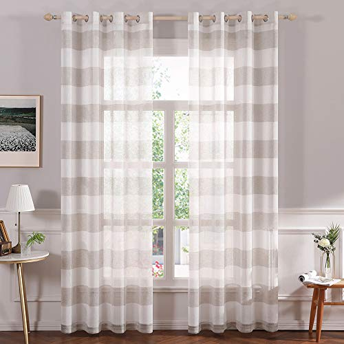 MIULEE Farmhouse Linen Striped Sheer Curtains with Grommet Long Window Textured Voile Drapes with Semi Transparent Look for Bedroom Living Room Sliding Door W 54 x L 96 Inches Length Tan