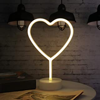 neón signos de luz, Amor LED Neon Signs lámparas con pedestal LED de neón con batería o USB Operación, Luces de la noche de luz de neon decoración neón para Navidad, fiesta de cumpleaños, sala de