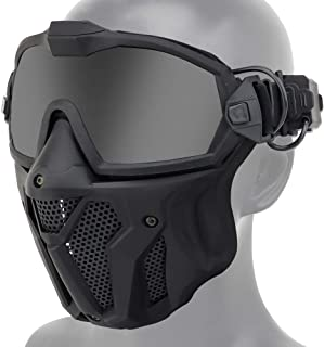 ATAIRSOFT Tactical Airsoft Anti-Fog Anti-Ultraviolet UV Protection Goggles and Mesh Mask Set with Swappable Lens