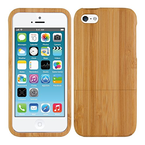 kwmobile Cover Compatibile con Apple iPhone SE (1.Gen 2016) / 5 / 5S Cover bambù - Custodia in Legno Naturale - Hard-Case Rigida Back-Cover Protettiva
