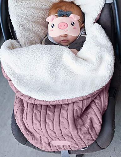 Uheng Newborn Baby Swaddle Blanket Wrap, Kids Toddler Knit Soft Warm Fleece Infant Bunting Bag Sleeping Bag Sack Footmuff Stroller Unisex Wrap for 0-12 Month Boys Girls