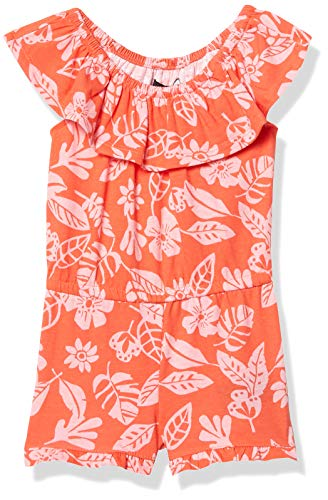 Nautica Girls' Fashion Romper, Hot Coral Floral, 4T