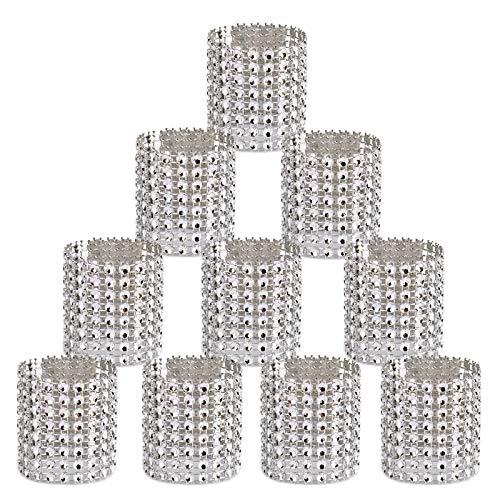 Digoon Napkin Rings Rhinestone Napkin Rings Adornment for Wedding Party (100 PCS, Silver)