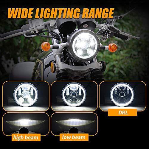 Lusgwufad LED Halo DRL Motorcycle Headlight