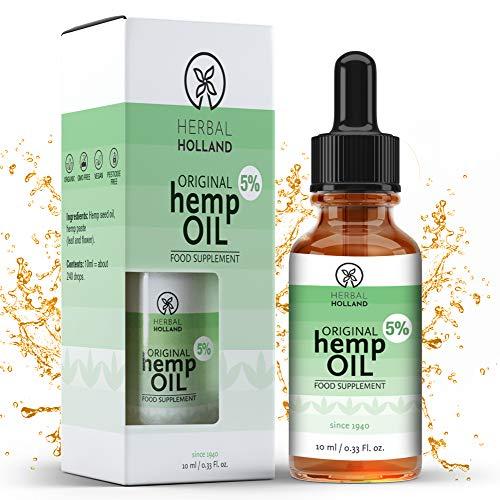Gotas de Aceite de Cáñamo Orgánico Vegano Original (10ml) al 5% de Herbal Holland - 100% Natural y Efectivo: Dolor, Sueño, Estrés, Vitalidad, Concentración, Piel y Articulaciones