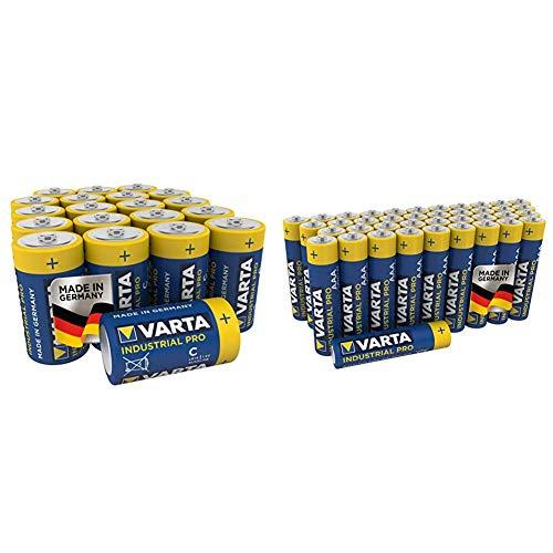 Varta Industrial Pro Batterie C Baby Alkaline Batterien LR14 (20er Pack) & Industrial Pro Batterie AAA Micro Alkaline Batterien LR03 (umweltschonende Verpackung (40er Pack), Design kann abweichen)