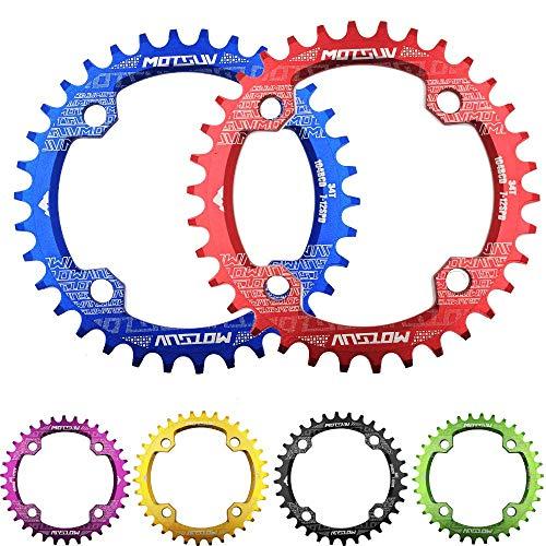 Cycling 104BCD Plato simple de aluminio,Manivela de bicicleta Forma redonda Rueda de cadena ancha y estrecha 32T / 34T / 36T / 38T Plato de MTB, Juego de bielas Circle de bicicleta Placa única