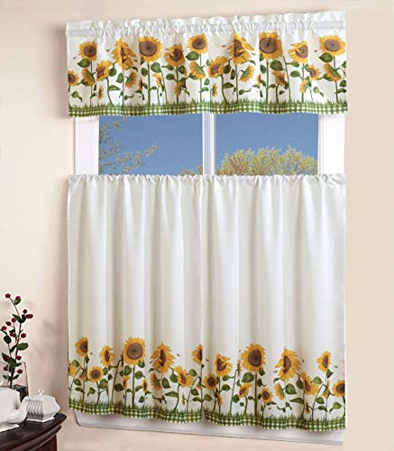 """Sapphire Home 3 Piece Kitchen Curtain Linen Set with 2 Tiers 27"""" W (Total Width 54"""") x 36"""" L and 1 Tailored Valance 54"""" W x 15"""" L, White Green Yellow Sunflower Design Kitchen Curtain Décor Linen"""