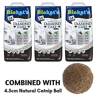 Biokat Diamond Care Classic Unscented Cat Litter 30L Antibacterial Disposable And Hypoallergenic Hygiene Granules With Smell Control Formula Combined With 4.5cm Natural Catnip Ball from Biokat