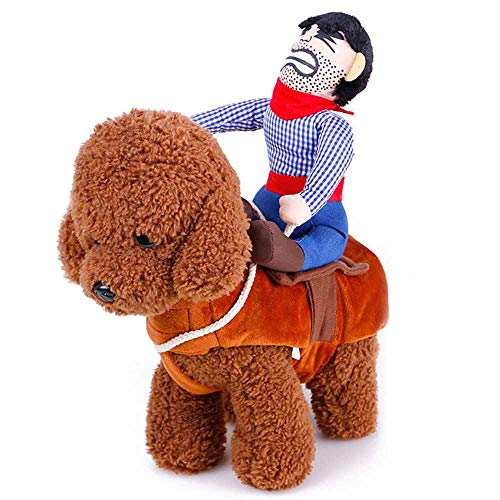 WenZhouHuangHuNiaoShangMaoYouXianGongSi modische Haustierkleidung Haustier Lustige REIT-Transformation Kostüm Puppe Cowboy Ritter Golden Retriever Teddy Kreative Persönlichkeit Lustige Hundekleidung