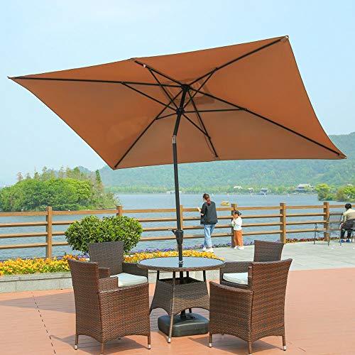 Generic002 Sombra de Patio al Aire Libre Sombra de Sombra, protección UV Ajustable Paraguas de sombrilla con inclinación, 2.0 x 3.0m Rectangular, manivela, para jardín Park Beach Camp Patio sin Base