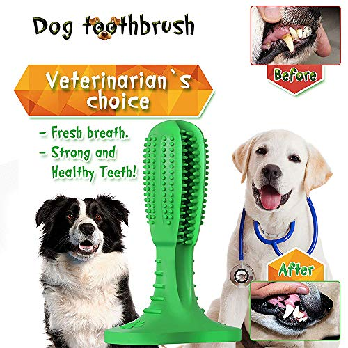 Dog Chew Toothbrush, 2019 Upgraded Natural Rubber Dog Brushing Stick Soft Puppy Chew Toy Cleaner Dog Toothbrush Chew Toy for...