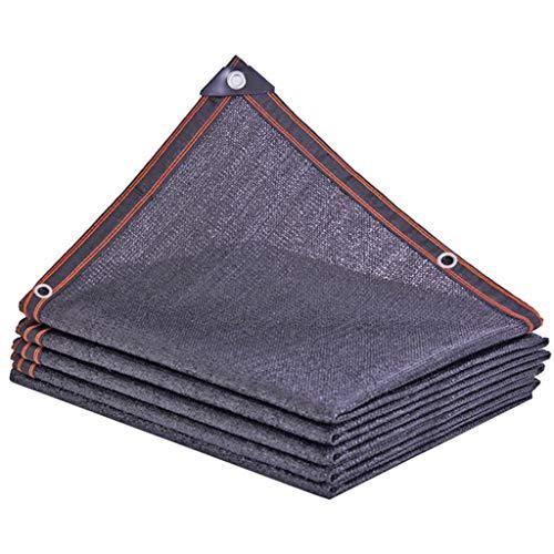 YTQ - Panel de sombra de tela de sombra de 80% con ojales de metal para aislamiento térmico, apto para valla de pérgola al aire libre, color negro, varios tamaños (tamaño: 5 m x 6 m)