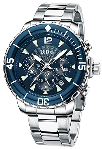 Reloj para Hombre Relojes de Pulsera Impermeables Diseño de cronógrafo Luminoso Relojes clásicos de Acero Inoxidable Dial Grande Fecha (Azul Plateado)