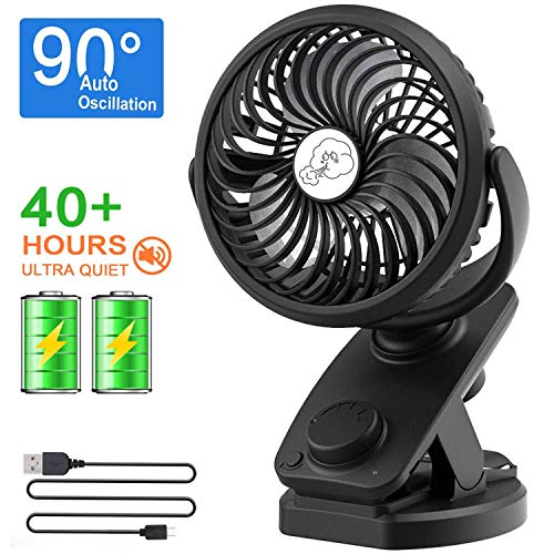 NANW Stroller Fan Clip on Battery Operated Fans, 2019 Newest 40 Hours Rechargeable Portable Clip Desk Fan, Personal Mini Table Auto Oscillating Fan for Baby Stroller Outdoor/Indoor Car Travel Office