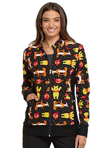 Cherokee Tooniforms Women's Zip Front Winnie The Pooh Print Scrub Jacket X-Small Print