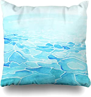 VivYES Throw Pillow Covers Surf Blue Ocean Watercolor Sea Made Nature Seascape Tropical Wave Pole North Natureunderwater Tour Zippered Pillowcases Square Size 20