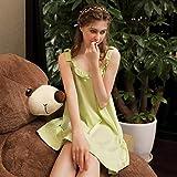 Handaxian Süße Baumwolle Damen Nachthemd lässig Pyjama Mini Pyjama Sommer Nachthemd Lotusblatt Prinzessin weiches Mädchen rosa Zuhause Kleidung-Light_Grey_L