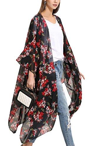Hibluco - Blusa de gasa para mujer, diseño floral, para la playa, para encima del bikini K95. XXXL